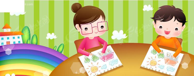 娃娃学画画-儿童宝宝矢量图下载(编号:2058)