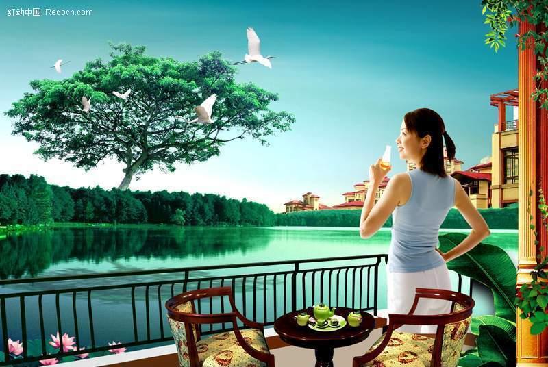 绿树湖泊环绕 阳台山喝茶的美女