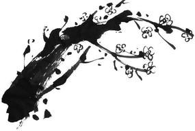 韩国黑白树枝笔刷-241