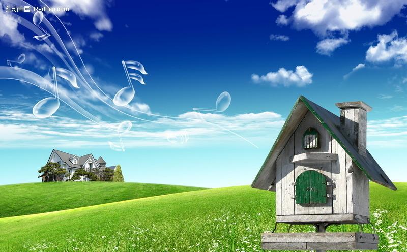 草地上的小木屋