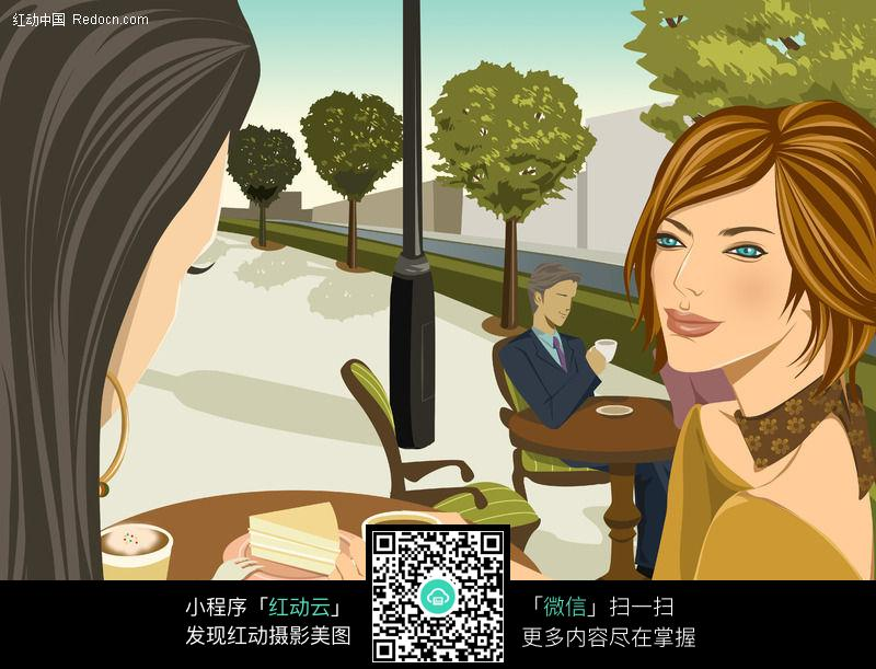 喝咖啡的美女_人物卡通图片