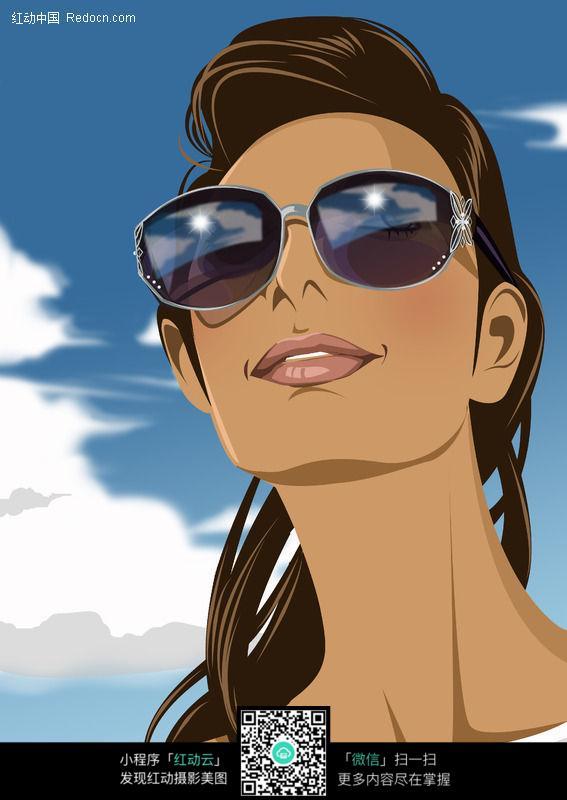 免费素材 图片素材 漫画插画 人物卡通 带太阳镜的美女
