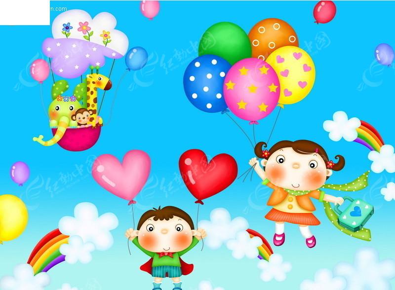 放气球的小孩卡通图