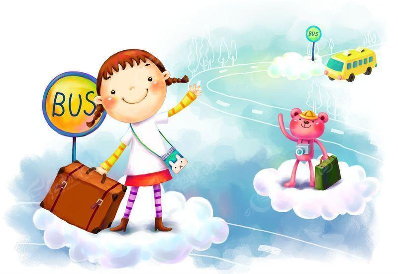 等公交车的卡通女孩