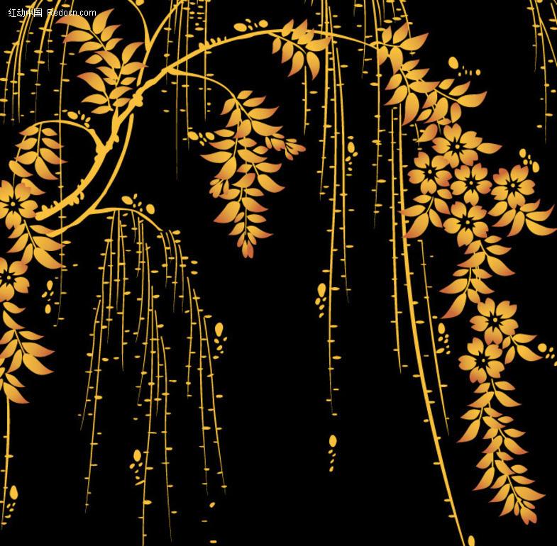 免费素材 矢量素材 花纹边框 底纹背景 柳树装饰背景底纹