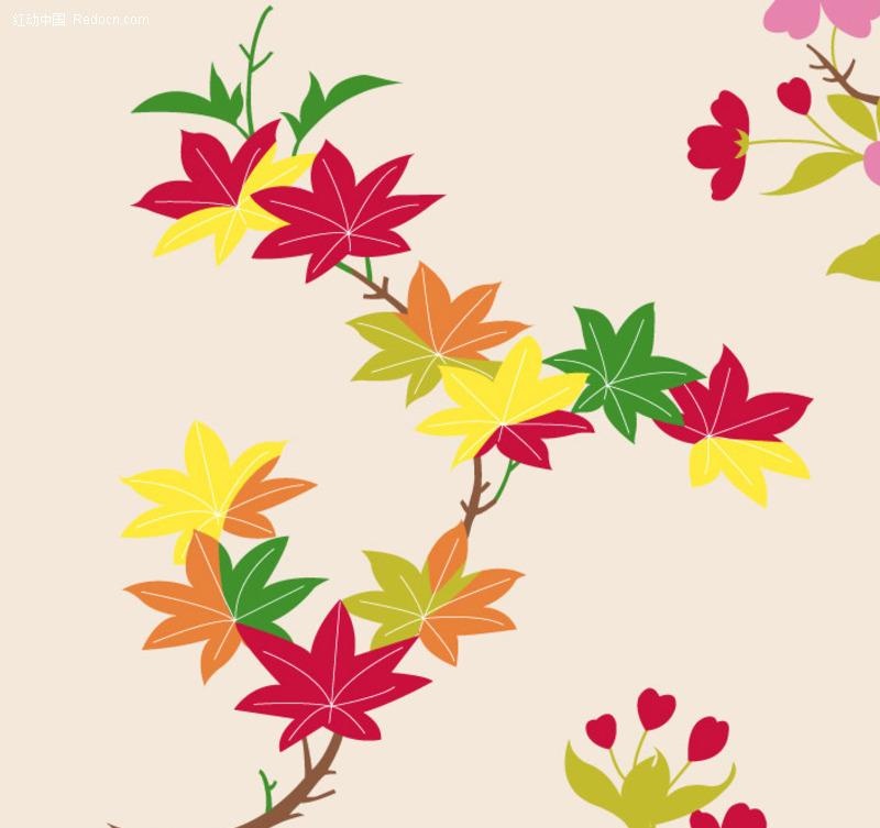 免费素材 矢量素材 花纹边框 底纹背景 枫叶装饰背景底纹  请您分享