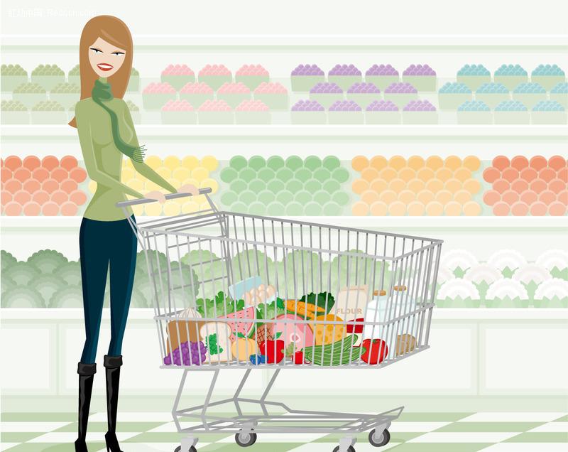 超市购物美女矢量图_女性女人