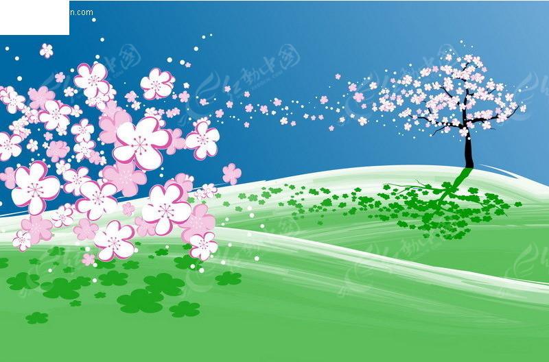 手绘樱花树后的富士山