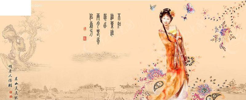 清宫梦蝶; 柴桑雨烟-古装美女写真-06; [psd]水墨画与古典美女05