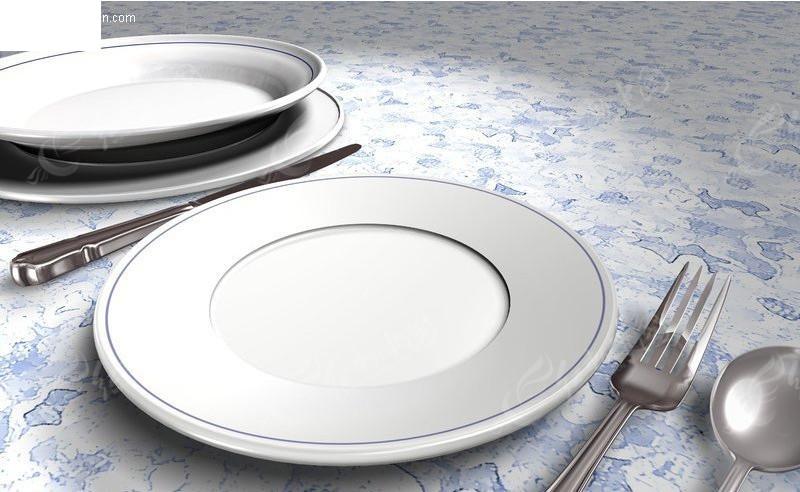 白色盘子和刀叉图片素材