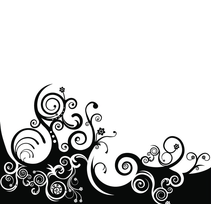 免费素材 矢量素材 花纹边框 花纹花边 黑白花纹花边-042