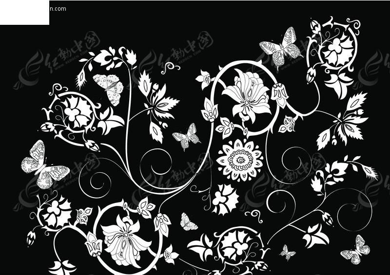 黑白花纹花边 051EPS素材免费下载 编号50589 红动网