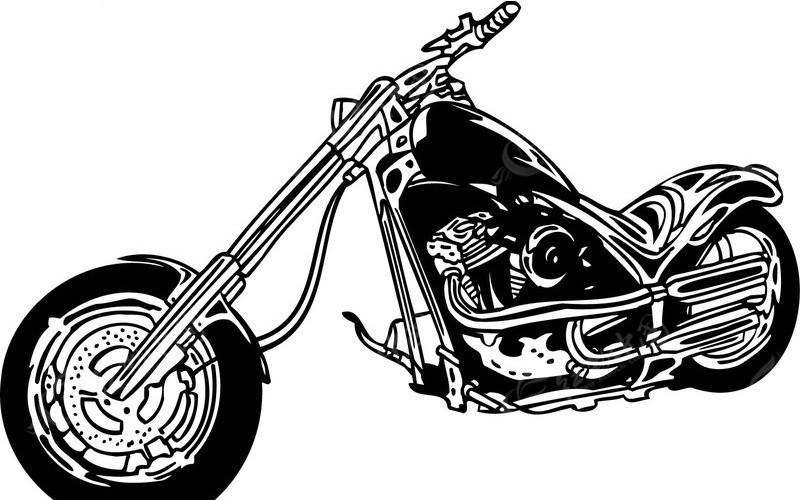 > 摩托车-黑白线描; 雷霆摩托 欧美花纹元素; 雷霆摩托0106