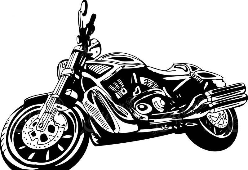 摩托车 黑白线描 110矢量图 交通工具