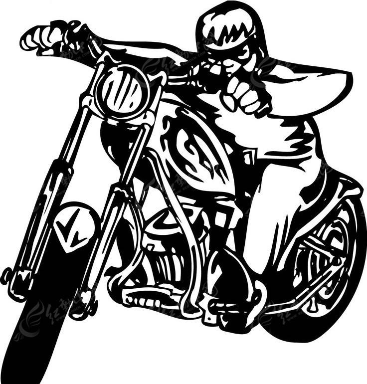摩托车(黑白线描)-52