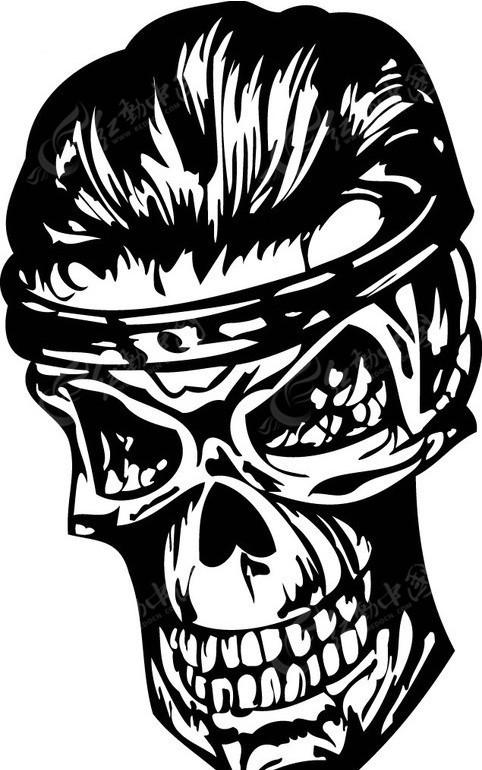 怪物骷髅头-黑白线描-043eps免费下载_其他人物素材