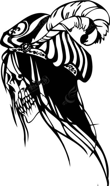 怪物骷髅头-黑白线描-013eps免费下载_其他人物素材