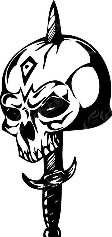 怪物骷髅头-黑白线描-004矢量图_其他人物