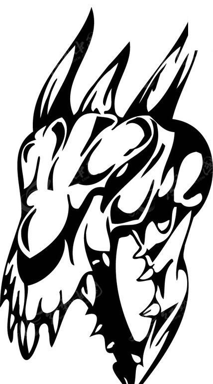 怪物骷髅头-黑白线描-019矢量图_其他人物