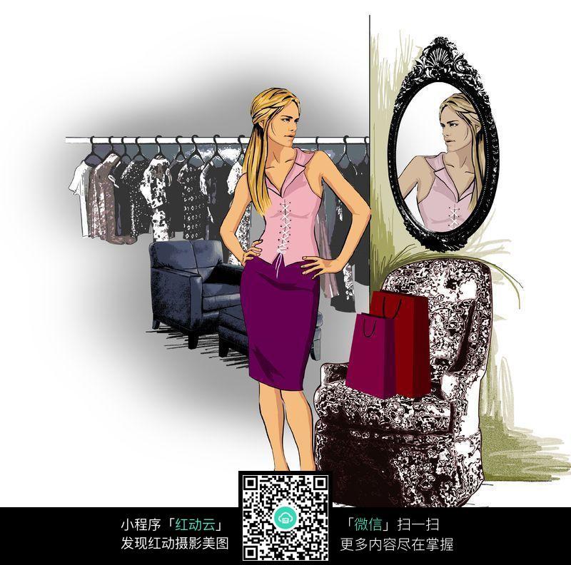 免费素材 图片素材 漫画插画 人物卡通 试衣服照镜子  请您分享: 素材