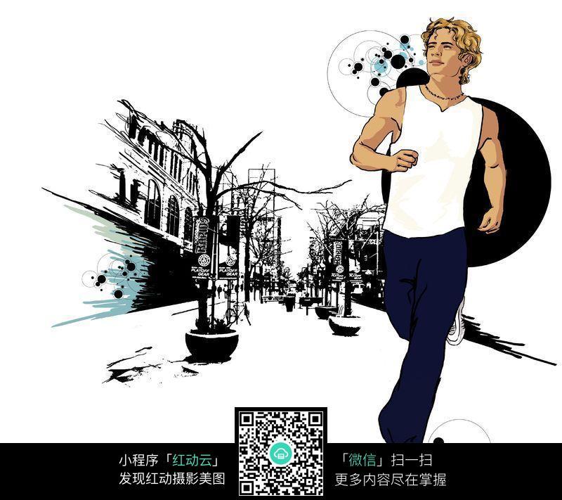 跑步图片_人物卡通图片