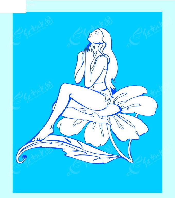 古代美女手绘图蓝色