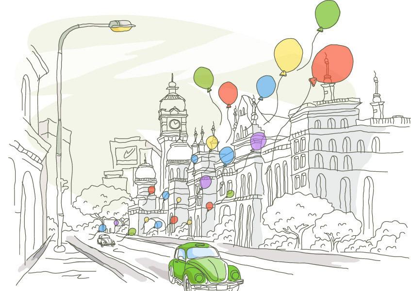 社区美景图手绘