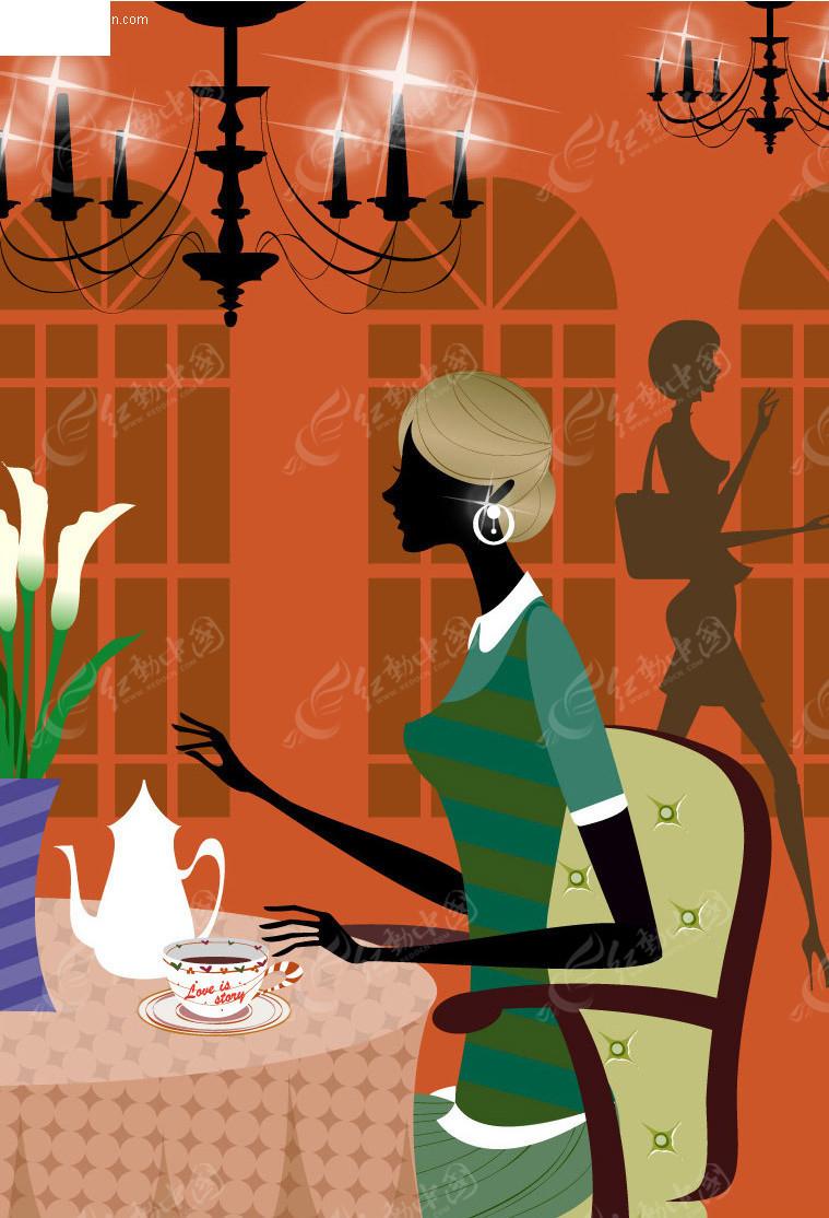 美女喝茶图片唯美手绘