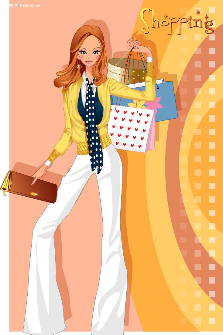 时尚购物女孩矢量图_女性女人