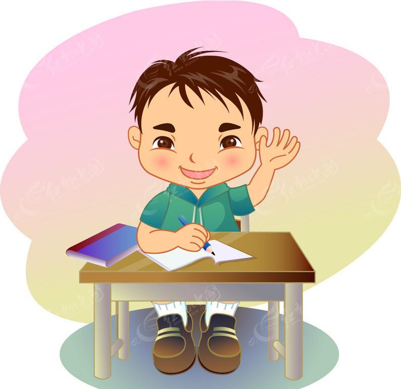 小男孩举手发言矢量图 儿童幼儿