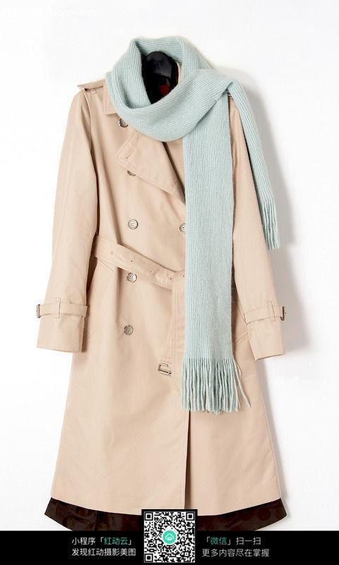 大衣围巾图片
