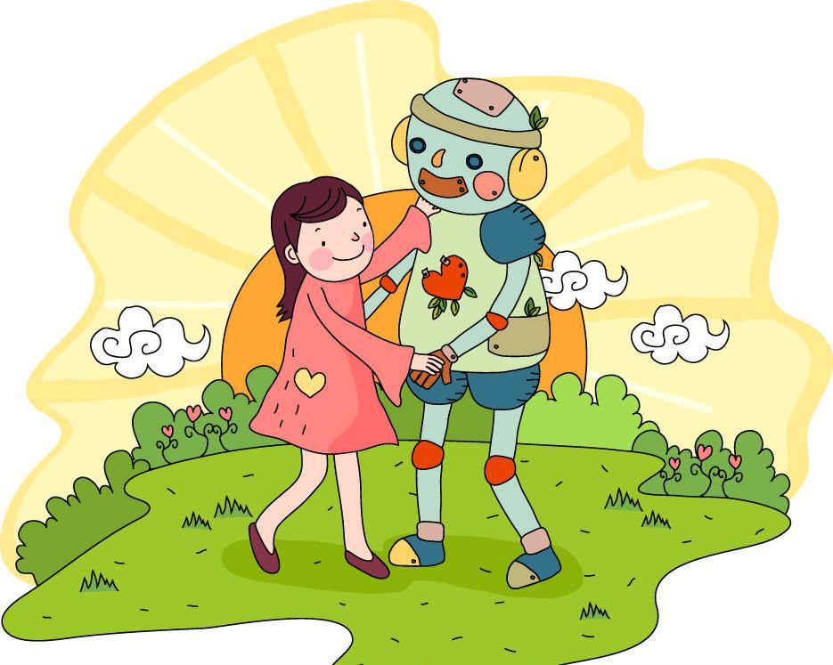 我与机器人 儿童 幻想 太阳 地球 好朋友 儿童幻想生活 儿童幼儿