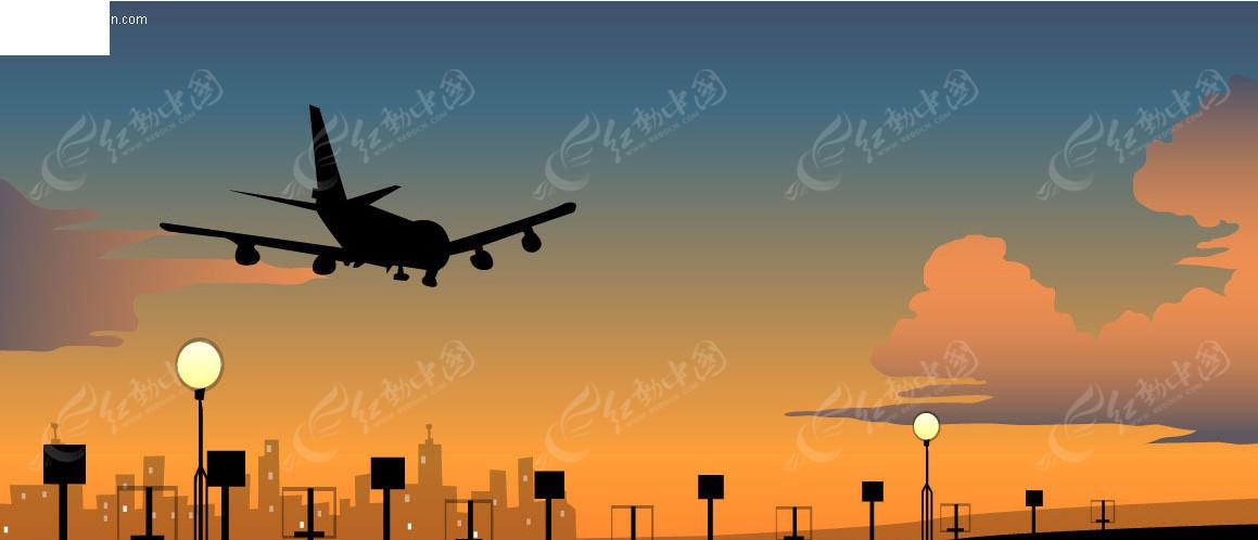 飞机降落矢量图免费下载