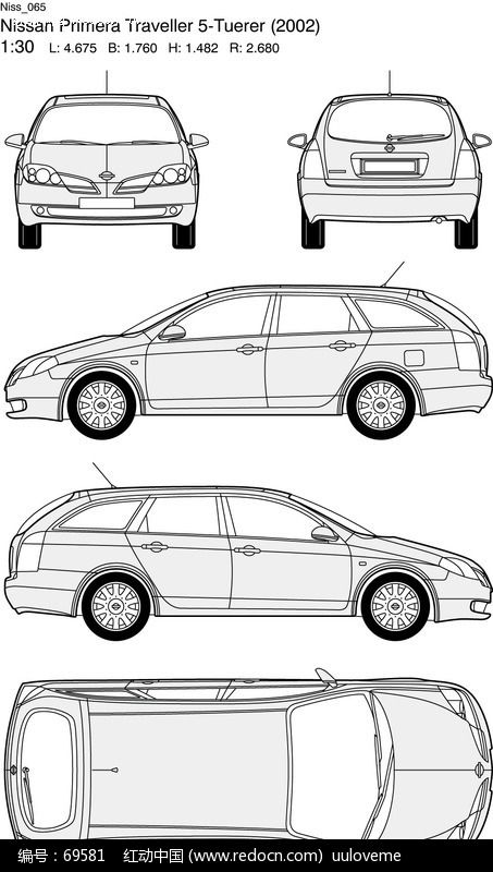 手绘汽车正面图素材