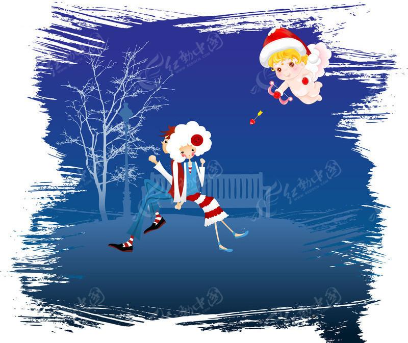 圣诞节素材 卡通情侣