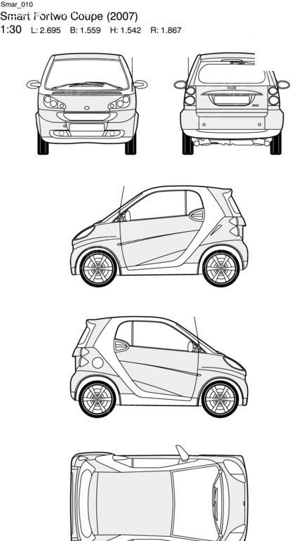 奔驰smart汽车10矢量三视图素材; 三视图怎么看;; 奔驰smart汽车10图片