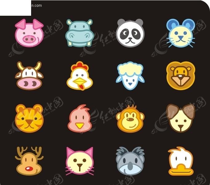 十二生肖动物拼贴画