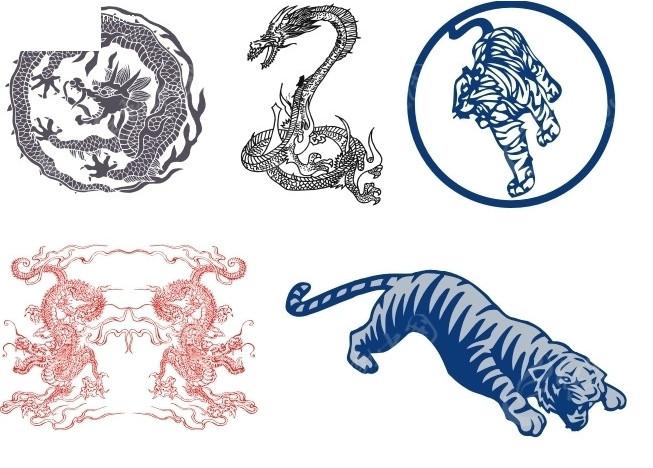 龙和老虎矢量图_传统图案