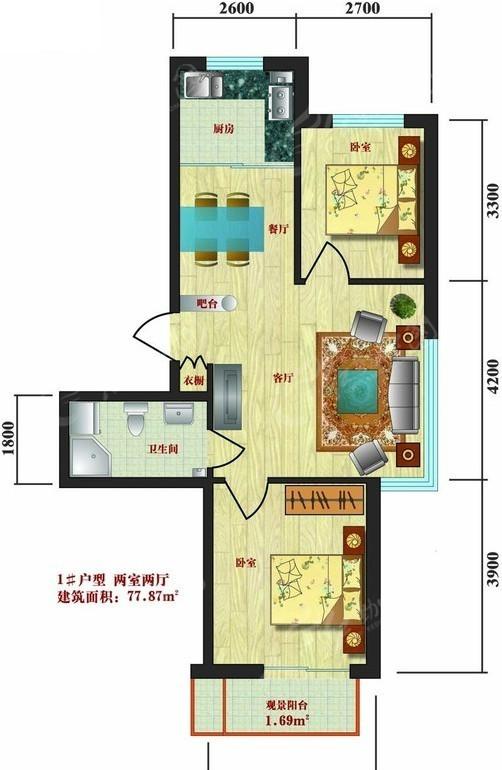 两室两厅户型平面图