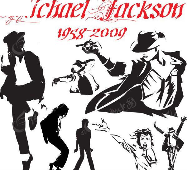 迈克尔杰克逊舞蹈动作剪影矢量图免费下载 名人明星