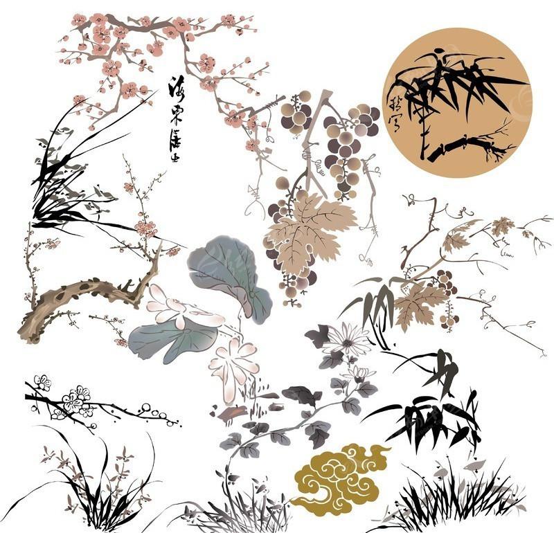 经典水墨植物 竹 梅花