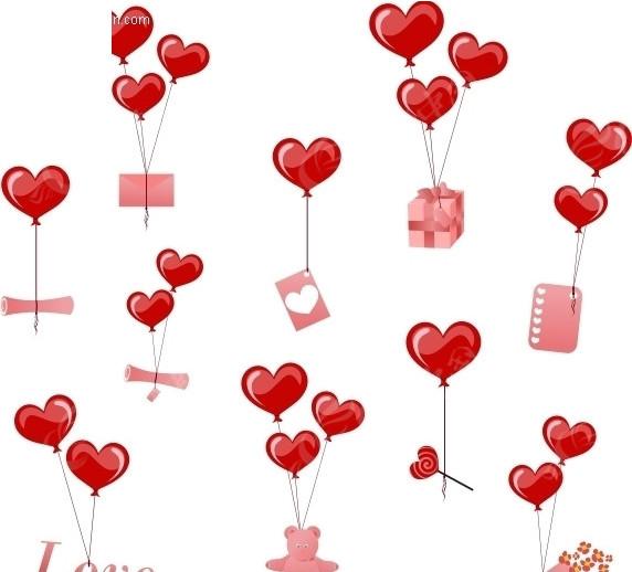 心形 爱心 小熊 love 气球 矢量图 礼盒 花 情人节 节日素材 矢量素材