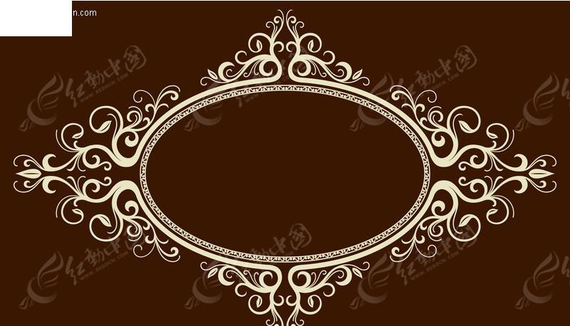 欧式复古椭圆花纹边框图片