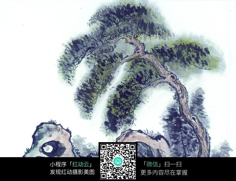树木与假山的国画图片