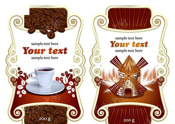 欧式 华丽 瓶贴 花边 咖啡 房子 风车 咖啡豆 包装设计 广告设计模版