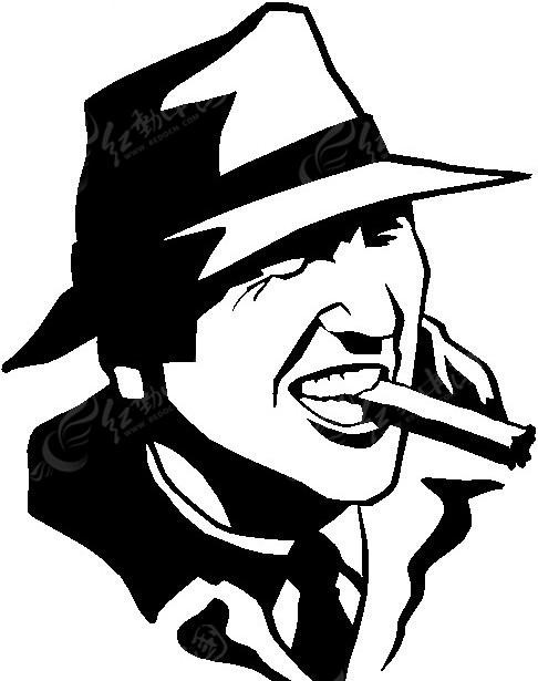 手绘女生抽烟黑白图片
