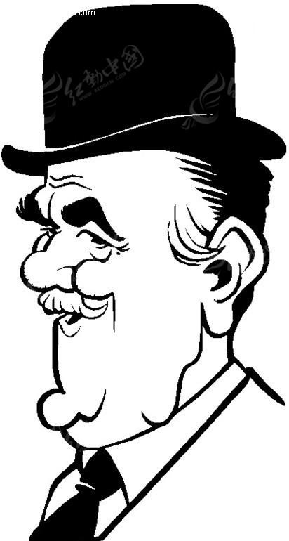 戴帽子的绅士侧面