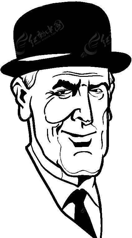 老绅士手绘图片