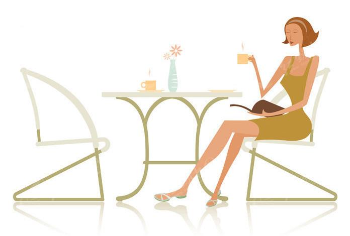 喝茶的美女矢量图_女性女人