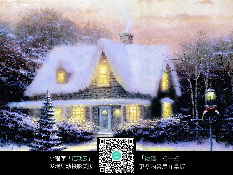圣诞画卷-夜晚的雪地小屋